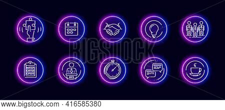 10 In 1 Vector Icons Set Related To Conference Theme. Lineart Vector Icons In Neon Glow Style