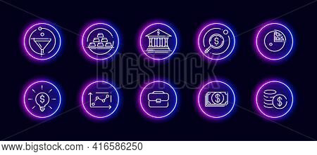 10 In 1 Vector Icons Set Related To Finance And Business Theme. Lineart Vector Icons In Neon Glow St