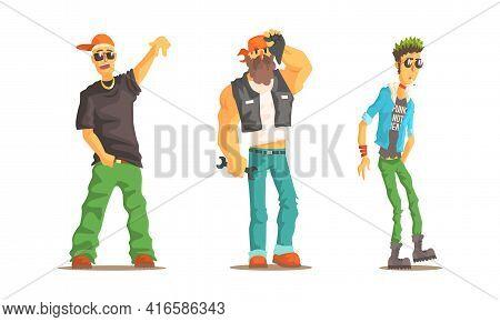 Men Of Different Subcultures Set, Male Rapper, Biker, Punk Characters Cartoon Vector Illustration