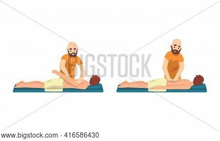 Male Professional Masseur Massaging Patient Lying On Bed Set, Beauty Salon Procedure, Spa Treatment,