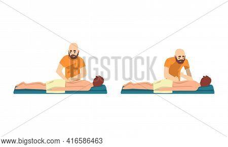 Masseur Massaging Patients Set, Beauty Salon Procedure, Spa Treatment, Chiropractic Massage, Rehabil