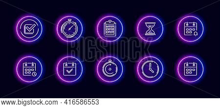 10 In 1 Vector Icons Set Related To Time Management Theme. Lineart Vector Icons In Neon Glow Style