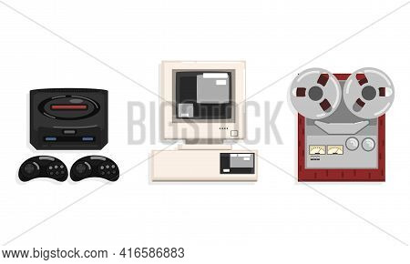 Retro Telecommunication Technologies Set, Reel Recorder Tape Player, Video Game Controller, Personal