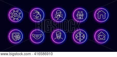 10 In 1 Vector Icons Set Related To Calculation Theme. Lineart Vector Icons In Neon Glow Style Isola