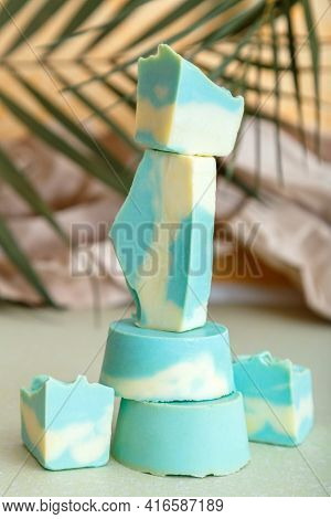 Solid Shampoo Bar Many Blue Mint Natural Handmade Soap Bars In Tower Stack Shape. Organic Coconut So