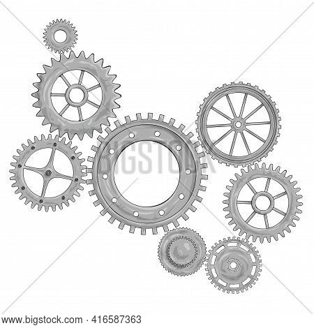Vector Illustration Of A Gear. Grey Round Gear Elements Of The Mechanism. Group Silver Isolated Deta