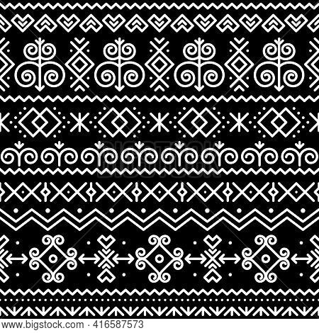 Slovak Folk Art Vector Seamless Pattern With Abstract Geometric Shapes Inspired By Traditional House