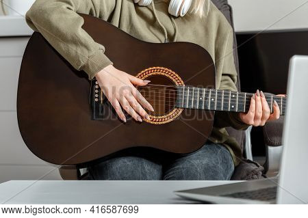 Online Classes Course Guitar Training Music E Education During Lockdown. Online Musical Guitar Perfo