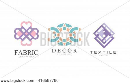 Textile Logo Design Set, Fabric Business Logo Identity Labels, Tailor Shop, Sewing, Tailoring Indust