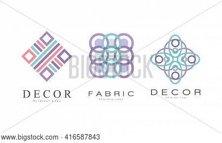 Decor Logo Design Set, Textile Business Logo Identity Labels, Tailor Shop, Sewing, Tailoring Industr