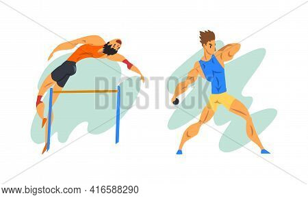 Track And Field Athletes In Action Set, Male Athletes Characters Taking Part In Sport Competitions C