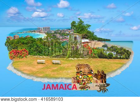 Collage About Jamaica - Caribbean Island. The Sea And Sand At Beaches At Sunny Day