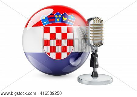 Music Of Croatia Concept. Retro Microphone With Croatian Flag. 3d Rendering Isolated On White Backgr