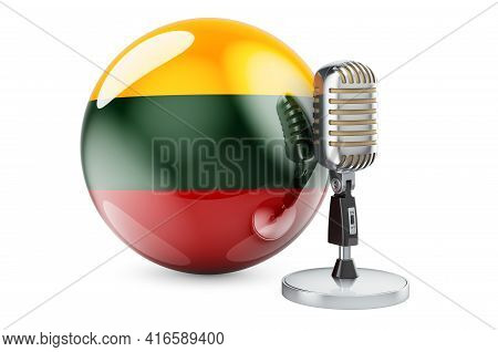 Music Of Lithuania Concept. Microphone With Lithuanian Flag. 3d Rendering Isolated On White Backgrou