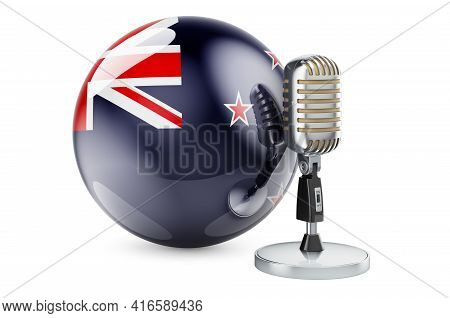 Music Of New Zealand Concept. Retro Microphone With New Zealand Flag. 3d Rendering Isolated On White