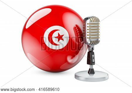 Music Of Tunisia Concept. Retro Microphone With Tunisian Flag. 3d Rendering Isolated On White Backgr