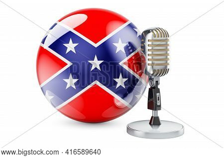 Microphone With Confederate States Of America Flag, 3d Rendering Isolated On White Background