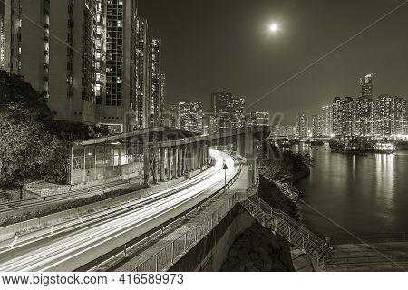 Skyline And Highway In Hong Kong City At Night
