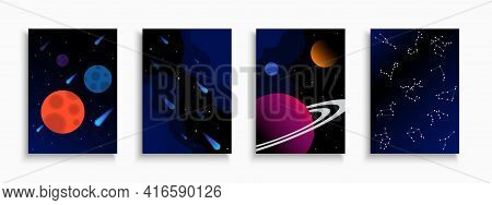 Set Of Dark Blue Vector Covers, Templates, Placards, Brochures, Banners, Flyers And Etc. Cosmic Crea