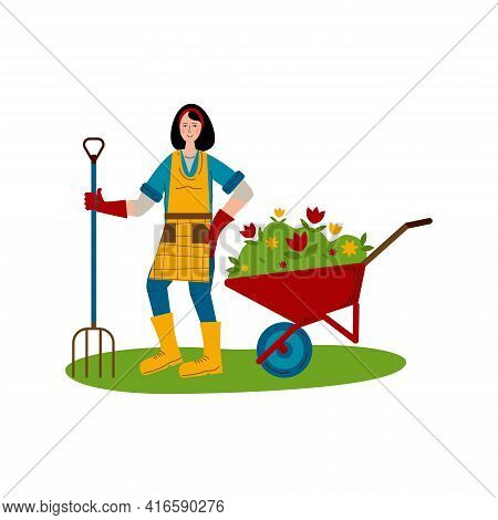 A Young Girl With A Pitchfork Stands Next To A Wheelbarrow With Seedlings Of Flowers. A Hobby Is Gar