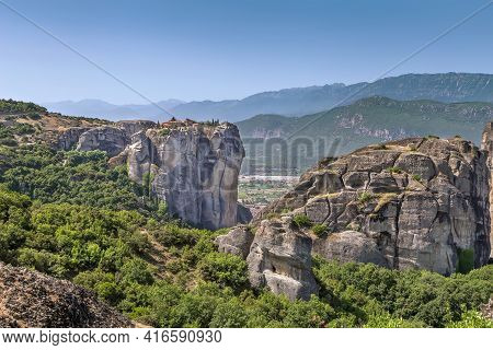 Landscape With Rocks And Monastery In Meteora, Greece
