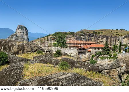 View Of Monastery Of The Holy Trinity In Meteora, Greece