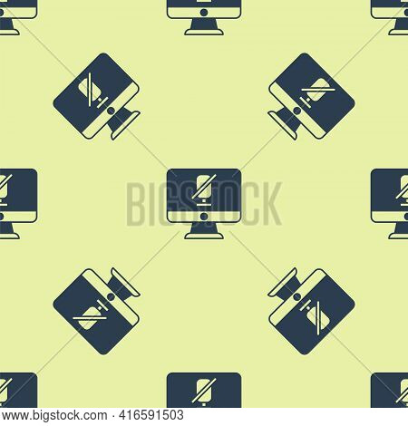 Blue Mute Microphone On Computer Icon Isolated Seamless Pattern On Yellow Background. Microphone Aud