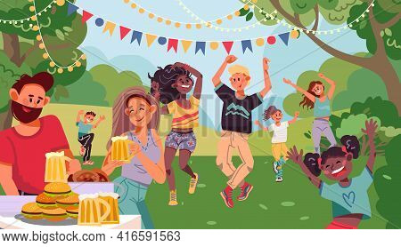 People On Garden Party. Drinking Couple, Retro Dancing Family Evening With Drink. Outdoor Dance On B