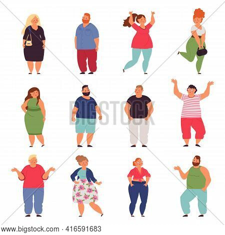 Plus Size People. Big Woman, Chubby Models Characters In Fashion Casual Cloth. Plump Man, Isolated O