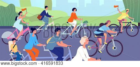 Bicycle Parade. Cyclists On Nature, Cycling Event In City Park. Diverse People Ride Cycle, Active Gi