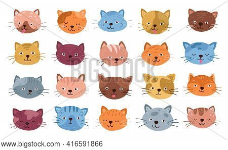 Funny Cats Faces. Isolated Cat Head, Cute Kitten Cartoon Smiles. Flat Little Pets Expressive Emoji,