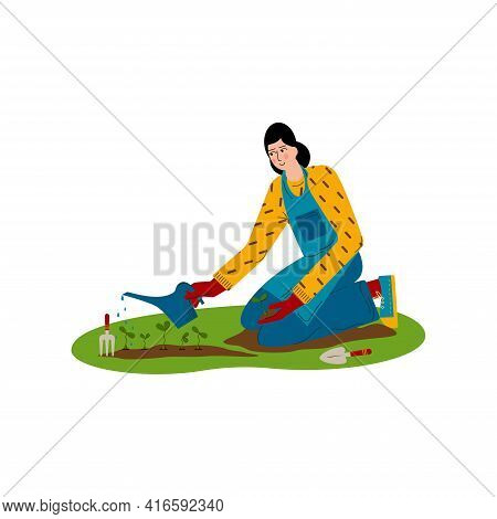 Young Woman Is Watering Plants. A Hobby Is Gardening. Flat Style Vector Illustration Isolated On Whi