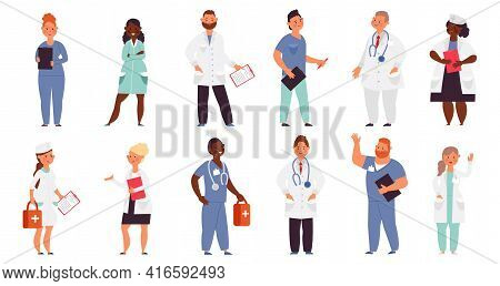 Hospital Team. Medical Men, Doctor Nurse Group. Healthcare Workers, Isolated Smiling Caring Staff. C