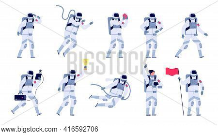 Astronaut Characters. Cosmonaut Motion Work, Astronauts With Helmet And Flag. Space Suit, Isolated S