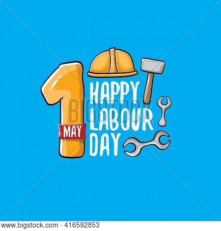 Cartoon Happy Labour Day Vector Label Isolated On Blue. Vector Happy Labor Day Background Or Banner