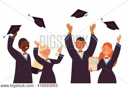 Graduated Students. Smiling Student, Friends Celebrating Graduation. Funny University Boy Girl, Acad