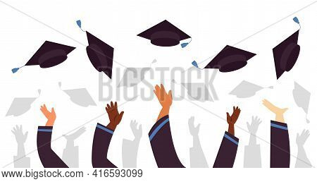 Throwing Graduation Caps. Cap Flying Up, Student Education Celebration. University College Or School