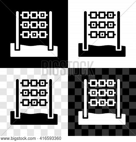 Set Tic Tac Toe Game Icon Isolated On Black And White, Transparent Background. Vector
