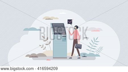 Self Service Checkout With Ticket Purchase Desk Stand Tiny Person Concept