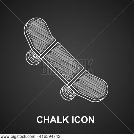 Chalk Skateboard Trick Icon Isolated On Black Background. Extreme Sport. Sport Equipment. Vector