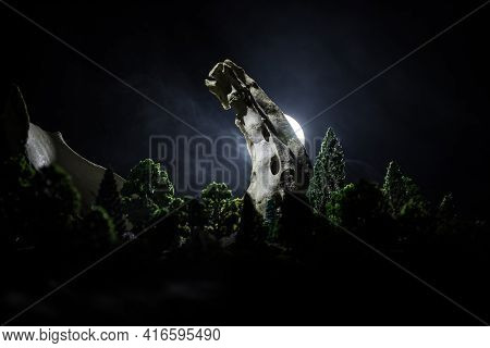 Animal Bone In Dark Halloween Night With Fog And Light On Background / Selective Focus And Space For