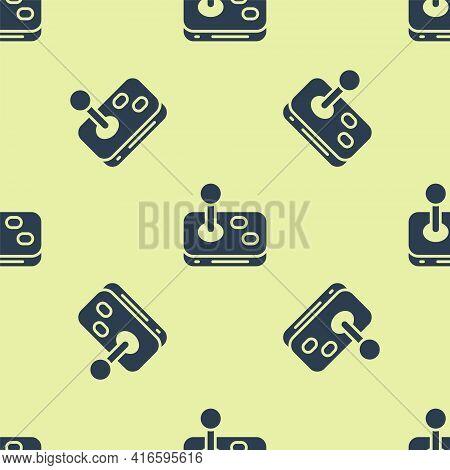 Blue Joystick For Arcade Machine Icon Isolated Seamless Pattern On Yellow Background. Joystick Gamep