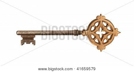 Ornated Golden Skeleton Key With Clipping Path