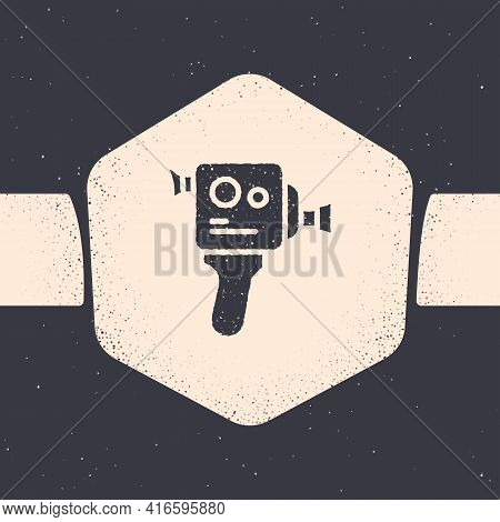 Grunge Retro Cinema Camera Icon Isolated On Grey Background. Video Camera. Movie Sign. Film Projecto