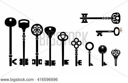 Retro Key Collection. Cartoon Silhouettes Of Antique Keys, Icons Of Decorative Object For Access Of