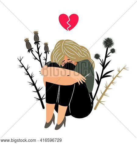 Crying Girl With Sad Feeling. Cartoon Young Lady With With Broken Heart, Concept Of Sadness And Sorr