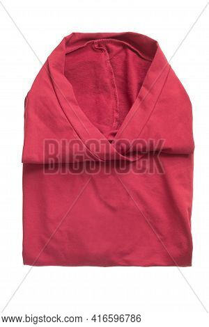 Red Folded Cotton Tunic Isolated Over White