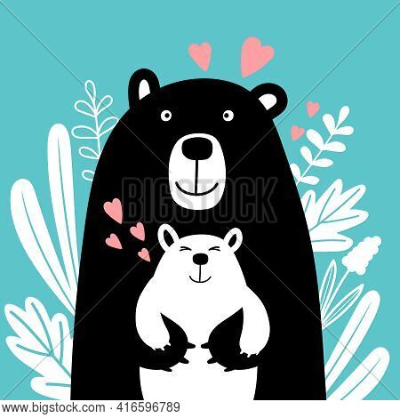 Bear Family. Animals Of Wildlife Drawn In Scandinavian Style, Cute Picture Of Mom And Son Surrounded