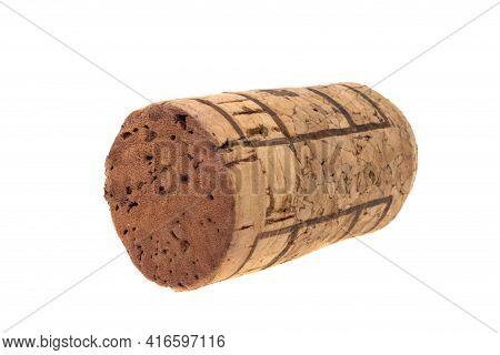 Wine Cork Cylindrical Isolated On White Background