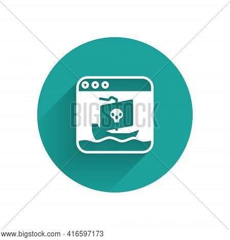 White Internet Piracy Icon Isolated With Long Shadow. Online Piracy. Cyberspace Crime With File Down